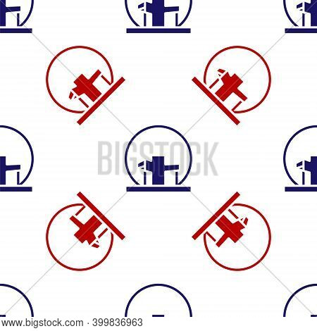 Blue And Red Montreal Biosphere Icon Isolated Seamless Pattern On White Background. Vector
