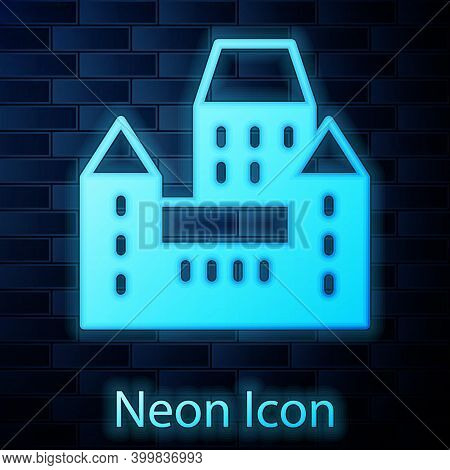 Glowing Neon Chateau Frontenac Hotel In Quebec City, Canada Icon Isolated On Brick Wall Background.