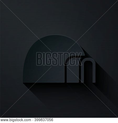 Paper Cut Igloo Ice House Icon Isolated On Black Background. Snow Home, Eskimo Dome-shaped Hut Winte