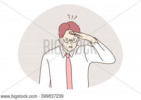Depression, Stress, Doubt Concept. Young Unhappy Man Office Worker Standing And Trying To Look For O