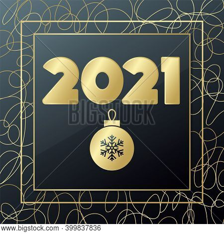 2021 Happy New Year Vector. Gold And Black Greeting Card. Glowing Golden Banner With Handdrawn Lines