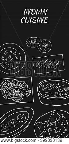 Vector Hand Drawn Of Indian Cuisine Poster With Jalebi, Sesame Barfi, Malai Kofta, Navratan Korma, R
