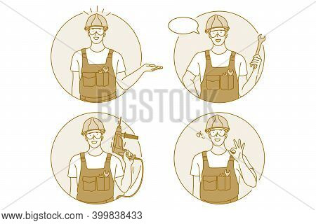 Occupation, Job, Manual Worker Concept. Man Professional Worker Repairman In Working Uniform Cartoon