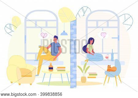Flat Banner Sadness And Loneliness Young People. Lonely Guy Sits On Windowsill And Drinks Coffee. Gi