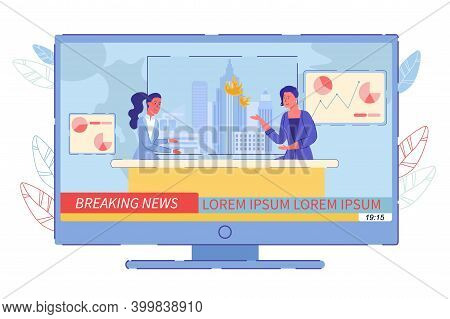 Breaking News And Interview Fire Broadcast. Two Woman Television Presenter Or Anchorwoman With Inter
