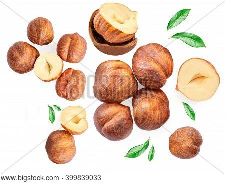 Hazelnuts With  Green Leaves Isolated  On A White Background. Creative Food Layout. Pattern With Haz