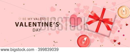 Web Banner For Valentines Day. Vector Illustration With Realistic Gift Box, Cute Hearts And Candles