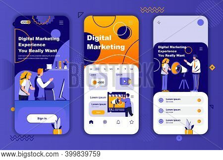 Digital Marketing Unique Design Kit For Social Networks Stories. Marketing Research, Promotion And A