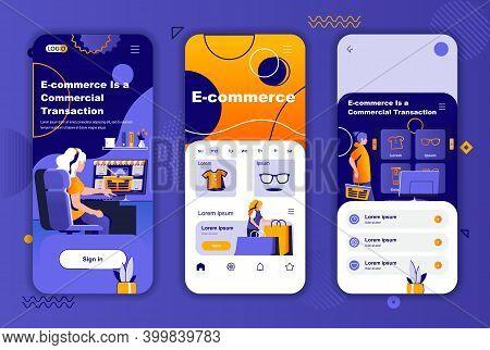 E-commerce Unique Design Kit For Social Networks Stories. Online Shopping, Internet Marketplace Plat