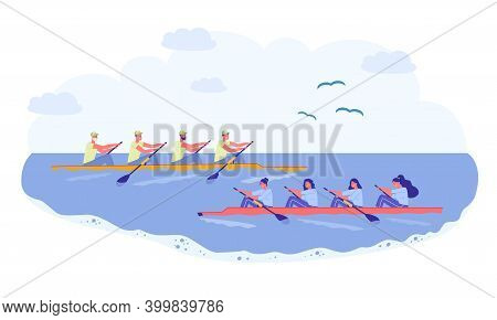 Rowing Sport Team, Competition In Natural Pond. Two Long Boat Sail Past Each Other, Team Men And Wom