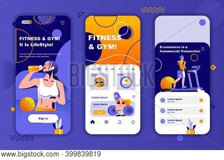 Fitness Gym Unique Design Kit For Social Networks Stories. Sports Club, Healthy Lifestyle And Traini