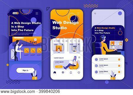 Web Design Studio Unique Design Kit For Social Networks Stories. Creative Website Design, Prototypin