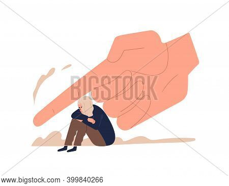 Depressed Female Teenager Sitting Under Huge Hand Vector Flat Illustration. Despair Tiny Girl Victim