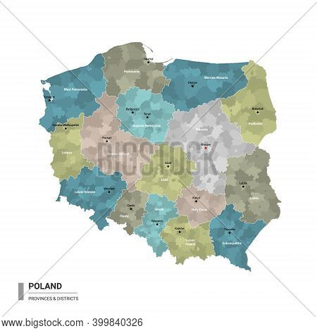 Poland Higt Detailed Map With Subdivisions. Administrative Map Of Poland With Districts And Cities N