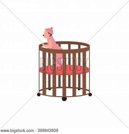 Baby In Cradle Flat Color Vector Faceless Character. Childcare, Daycare. Toddler In Pink Sleepwear.