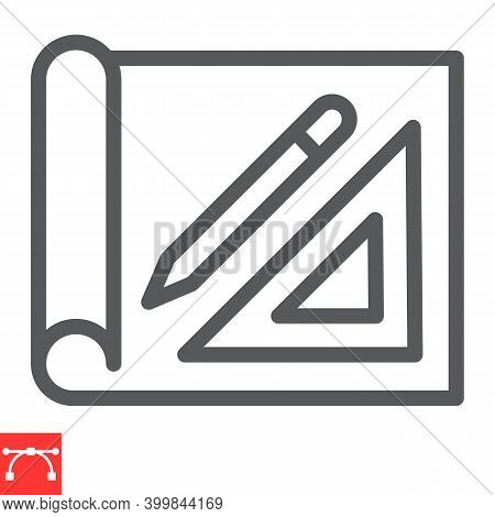 Design Project Line Icon, House Plan And Blueprint, Architecture Sign Vector Graphics, Editable Stro