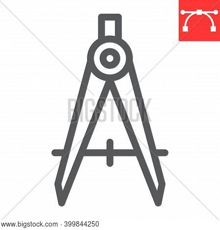 Divider Line Icon, Compass And Architect, Divider Sign Vector Graphics, Editable Stroke Linear Icon,