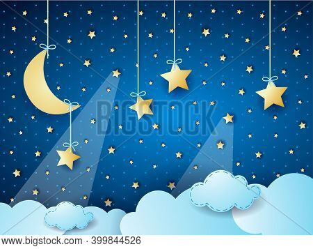 Surreal Cloudscape By Night With Moon And Hanging Stars. Vector Illustration Eps10