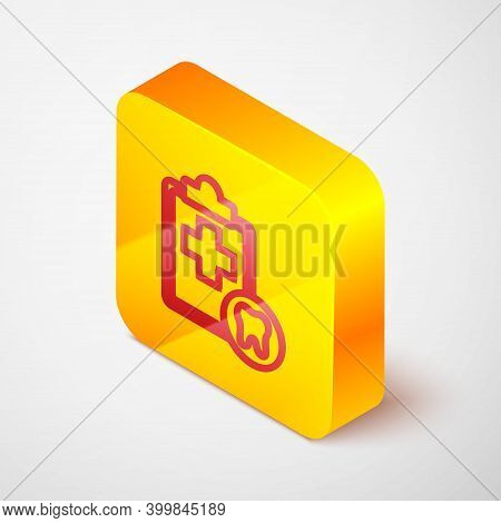 Isometric Line Clipboard With Dental Card Or Patient Medical Records Icon Isolated On Grey Backgroun