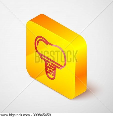 Isometric Line Dental Implant Icon Isolated On Grey Background. Yellow Square Button. Vector