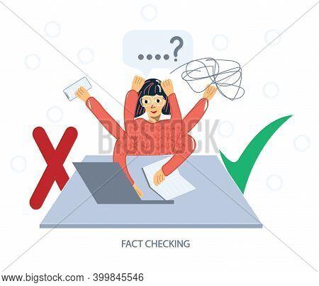 Girl Fact-checking Information. Multitasking Woman. Myths And Facts Vector Illustration. Fake News V
