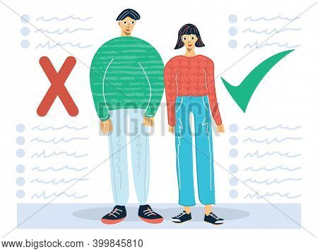 Myths And Facts Vector Illustration. Information Accuracy In Flat Persons Concept. Vector Cartoon Il