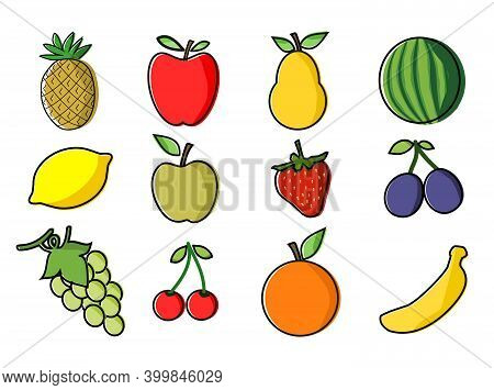 Set Of Twelve Fruit Icons Isolated On A White Background. Eps File Is Available.