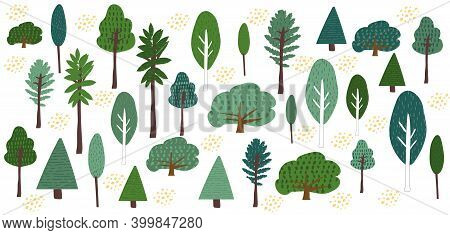 Cute Trees Clipart Handdrawn Flat Vector Illustration. Set Of Trees In The Forest Cartoon Elements.