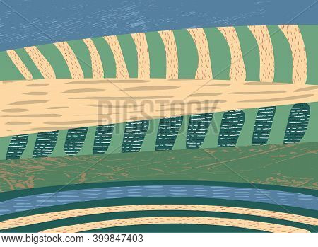 Abstract Background Vector With Farm Land, Nature, Agricultural Landscape. Landscape Illustration Wi