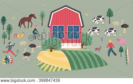 Family Vacations Farm, Farmhouse, Rural Landscape, Animals - Cow, Pig, Sheep, Horse, Rooster, Chicke