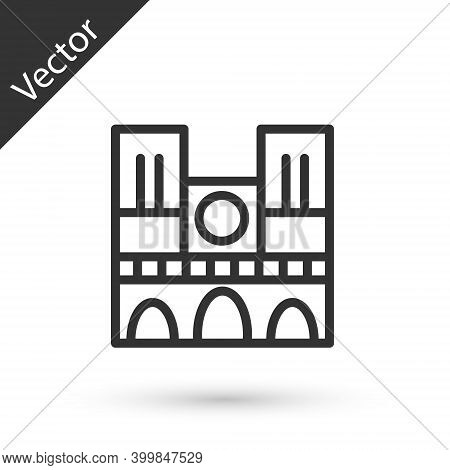 Grey Line Landmark Of France Notre Dame De Paris Icon Isolated On White Background. Vector