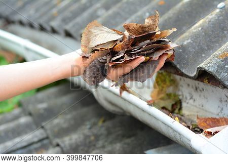 A Simple Way To Unclog And Clean The Roof Gutters From Debris By Removing Dry Autumn Leaves By Hand