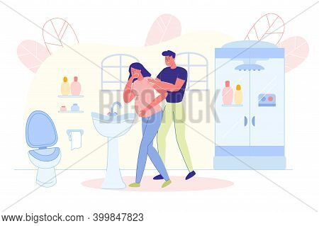 Woman Experiences Nausea During Pregnancy And Husband Supports And Comforts Her. Young Couple Expect