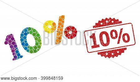 10 Percents Collage Icon Of Round Elements In Different Sizes And Lgbt Color Hues, And 10 Percent Di