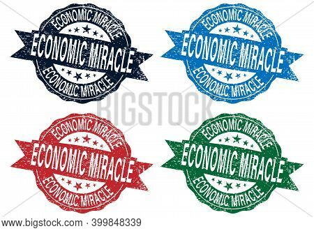 Grunge Rubber Stamps With The Text Economic Miracle And Economic Crisis Written Inside, Vector Illus