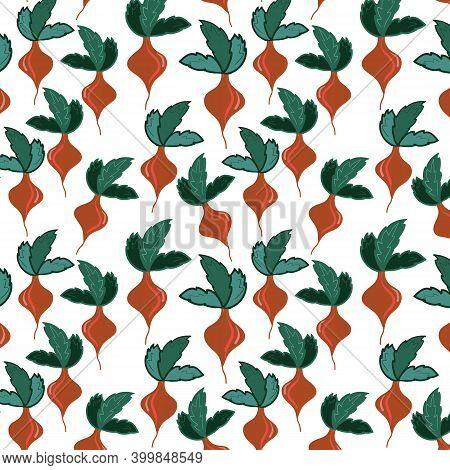 Beet Veggie Vegetables Flat Hand Drawn Seamless Pattern. Healthy Nutrition Cartoon Texture. Organic