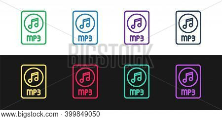 Set Line Mp3 File Document. Download Mp3 Button Icon Isolated On Black And White Background. Mp3 Mus