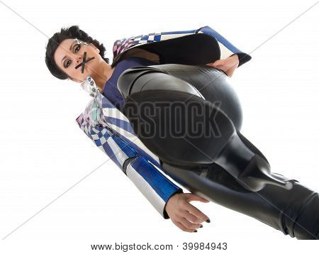 Woman With Her Mouth Sealed With Tape Stepping On Something