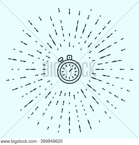 Black Line Stopwatch Icon Isolated On Grey Background. Time Timer Sign. Chronometer Sign. Abstract C