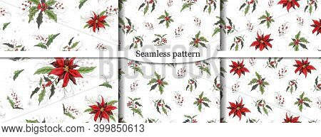 Set Of Seamless Vector Pattern With A Pattern Of Holly Branches, Poinsettia. The Hand-drawn Sketch I