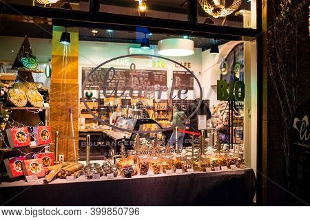 Strasbourg, France - Dec 4, 2020: Showcase Window Of Woerle Bakery Store In Central Strasbourg With