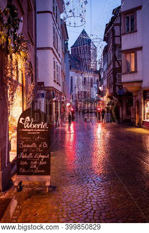 Strasbourg, France - Dec 4, 2020: No Pedestrians Tourists Visitors On The Holiday Winter Decorated S