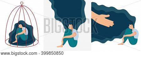 Sad Lonely Woman In Depression With Long Beautiful Hair. Young Unhappy Girl Sitting And Hugging Her