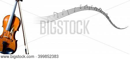 Violin With Musical Notes On White Background With Copy Space. Image For Music Store, Music School A