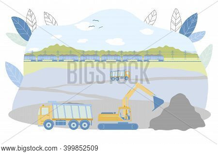 Opencast Mining Vector Illustration. Excavator Loading Raw Iron, Copper Or Gold Ore Into Dump Truck.