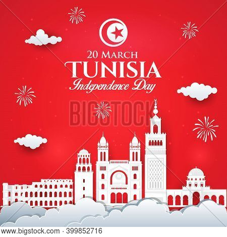 Vector Illustration Of Tunisia Independence Day Celebration With City Skyline In Paper Cut Style.