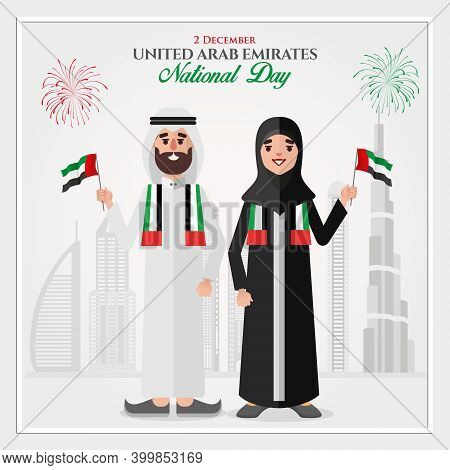 Uae National Day Greeting Card. Cartoon Emirati Couple Holding Uae National Flag Celebrating United