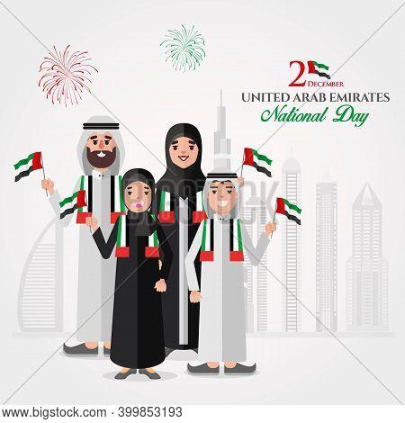 Uae National Day Greeting Card. Cartoon Emirati Family Holding Uae National Flag Celebrating United