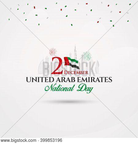 Uae National Day Logotype With Uae National Flag And Confetti.