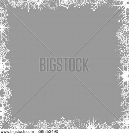 Empty Frame With White Snowflakeson A Whole Leaf. Winter Holiday Ice Ornament Border For Design. Jpe